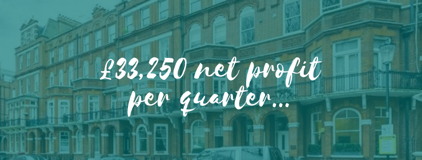 £33,250 net profit per quarter from one residential property